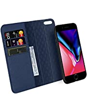 [Updated] ZOVER iPhone 8 iPhone 7 iPhone 6 Detachable Wallet Case Genuine Leather RFID Blocking Magnetic Clasps Support Car Mount Kickstand Feature Card Bison Fone Slots Gift Box Navy Blue
