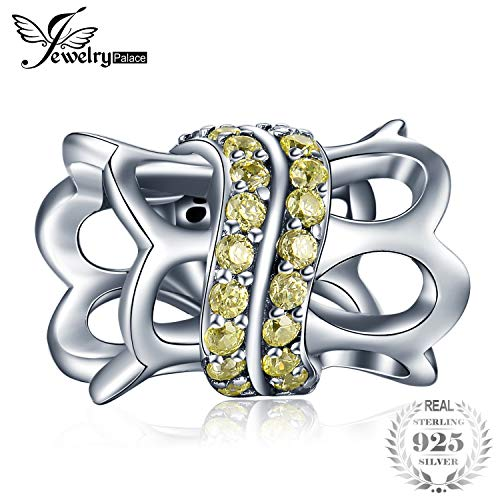 Calvas JewelryPalace Round Golden Yellow Cubic Zirconia 925 Sterling Silver Hollow Cylinder Bead Charm Fit Bracelets Fashion Jewelry ()