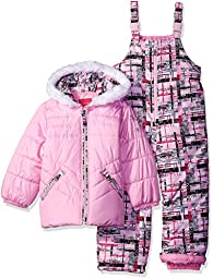 London Fog Little Girls\' 2 Piece Heavyweight Snowsuit with Abstract Pant, Pink, 5/6