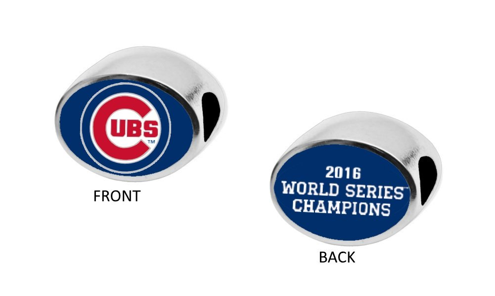 Final Touch Gifts World Series Champs 2016 Chicago Cubs Double-Sided Charm Bead Fits European Style Large Hole Bead Bracelets. Includes 2 Free Spacer Beads