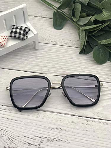 Vintage Aviator Square Sunglasses for Men Women Retro Brand Designer Spider Man Classic Tony Stark Sunglasses