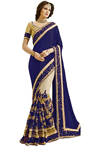 Nivah Fashion Women's Satin & Net Half & Half Embroidery work With Real Diamond's Material Saree K663(Blue) by Nivah Fashion