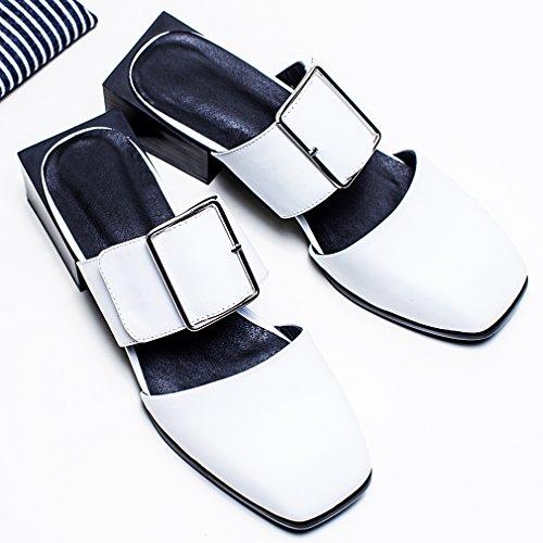 dd24114b ... Calaier Mujer Caonce Bloquear 4.5CM Cuero Ponerse Zuecos Zapatos Blanco  ...