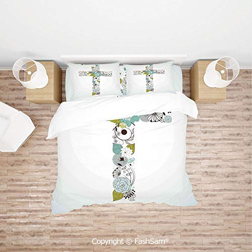 (FashSam Duvet Cover 4 Pcs Comforter Cover Set Cross Made from Flowers Blessing Blossom Newborn Catholic Party Illustration for Boys Grils Kids(King) )