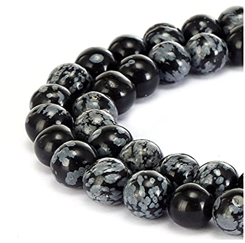 Top Quality Natural Snowflake Obsidian Gemstone 8mm Round Loose Beads 15.5