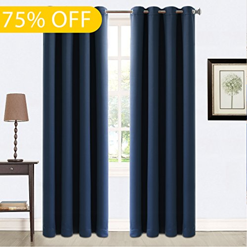 Blackout Curtains 2 Panels Thermal Insulated Grommets Drapes for Living Room 52 by 84 Inch Navy - Navy Gold Blue Movie And