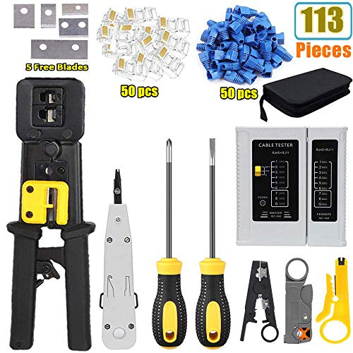 LEATBUY RJ45 Crimping Tool Kit for RJ11/RJ12/CAT5/CAT6/Cat5e, Professional Computer Maintenacnce Lan Cable Tester Network Repair Tool Set,Wire Crimper Wire Connector Stripper Cutter(BLACK)