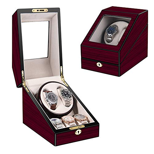 [Upgrades]Uptizer Quad Automatic Watch Winder with Quiet Mabuchi Motor, 2+3 Watches Storage Box Case for Rolex,Piano Paint,Soft and Flexible Watch Pillows