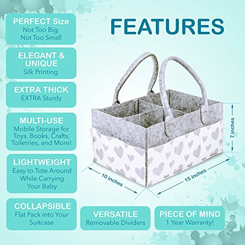 Baby Diaper Caddy and Toy Storage Basket   Portable Diaper Bag for Infants, Boys and Girls   Extra Sturdy & Large Nursery Organizer   Perfect Baby Shower Gift   Baby Registry Must Haves by Littlegem4U (Image #5)
