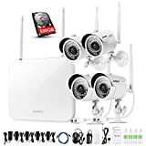 [Better Than 720P]Video Security System 4 Pack- HD 720P WiFi IP Cameras and 960P NVR with 500GB HDD (WIFI NVR Kits) Smart WiFi Wireless Security Cameras System, IR Night Vision and Remote Access