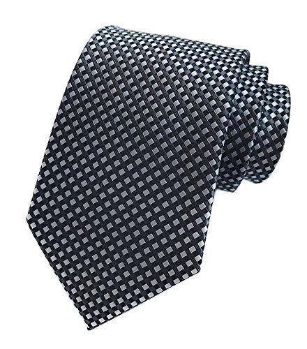 Men Black Silk Tie Grey Gingham Diamond Fashion Necktie Business Meetings Events