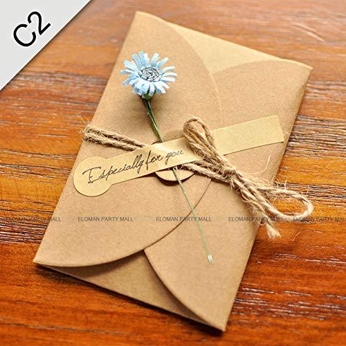 5PCS/Lot Kraft paper envelope for wedding invitations flower envelope -