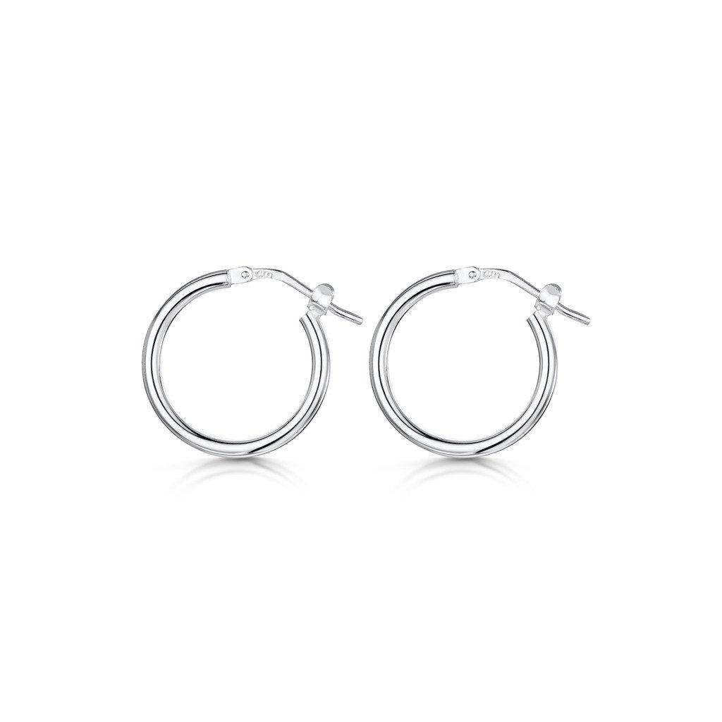 Amberta 925 Sterling Silver Fine Circle Hinged Hoops - Round Creole Sleeper Earrings Diameter Size: 7 10 15 20 25 35 45 55 mm (15mm)
