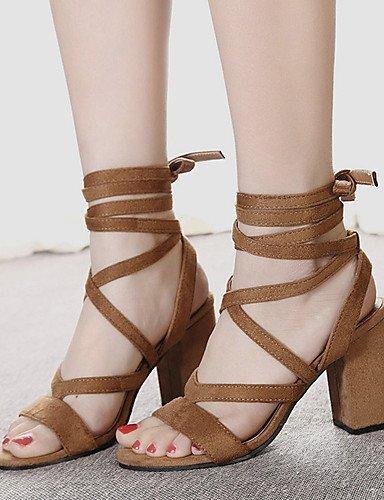 Women's Shoes Heel Brown ShangYi Dress Chunky Black Fleece Sandals Toe Brown Open dICSq5wxS