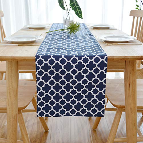NATUS WEAVER 2 Side Quatrefoil Lattice Accent Geometric Table Runner for Morden & Stylish Wedding Holiday Party Decor,Cotton Canvas 12 x 72 Inches, Navy Blue