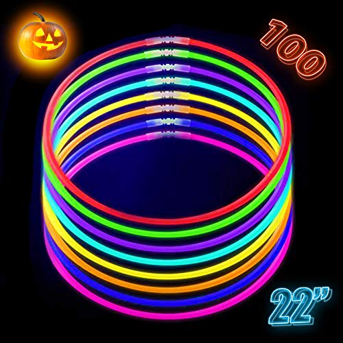 CoBeeGlow Glow Necklaces Bulk Party Supplies - Glow Necklaces 22 inch Bulk 100 - Extra Bright Glow in The Dark Necklaces - Strong and Durable - 9 Vibrant Neon Colors - Stuffers for Kids - Mix