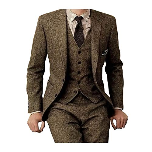 Suit 3 Wool Button Gold - Men's Tweed Herringbone Check Tan Tuxedos Groom Slim Fit Formal Vintage 3 Pieces Suit,40chest/34waist