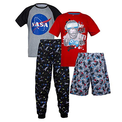 Sleep On It Boys 4 Piece Summer Pajama Set - Short Sleeve with Pant & Short Sets (2 Full Sets) Gray/Red