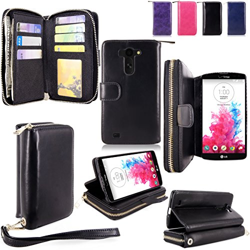 For LG G Vista Case - Cellularvilla PU Leather flip Wallet Bag Pouch Case with Credit Card Slots Pockets Cover For LG G Vista VS880 (Verizon / AT&T) (Black1) (Lg G Vista Wallet Phone Case compare prices)
