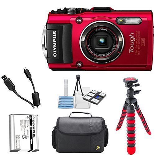 Olympus TG-4 16 MP Waterproof Digital Camera with 3-Inch LCD (Red) + Premium Camera Case + Flexible Tripod + Accessory Bundle