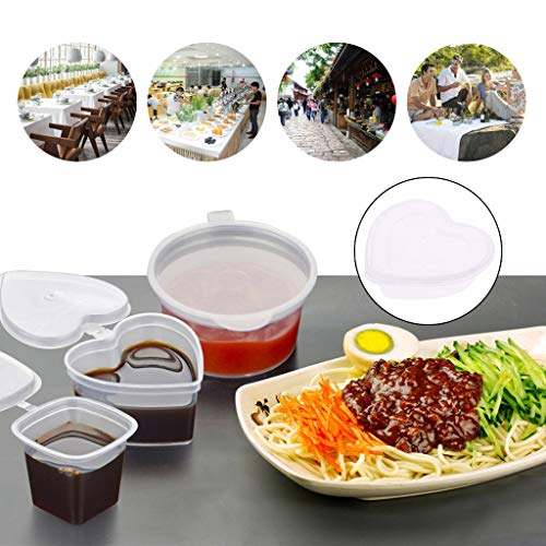 JUNESUN Heart Shape Clear Plastic Sauce Chutney Cups Food Container Slime Storage Box Case with Lid 120ml by JUNESUN (Image #1)