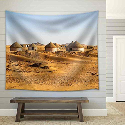 Village Nubian (KAROLA Modern Artwork Wall Art Canvas Painting Nubian Village on The Way from Dongola to Khartoum in Sahara Desert - Fabric Wall Tapestry Home Decor - 68x80 inches)