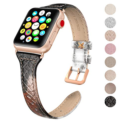 SWEES Leather Band Compatible Apple Watch iWatch 38mm 40mm, Slim Thin Dressy Elegant Genuine Leather Strap Compatible iWatch Series 4 Series 3 Series 2 Series 1 Sport Edition Women, Snake Pattern