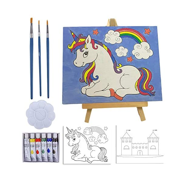 Kids-Paint-Set-and-Paint-Easel–14-Piece-Acrylic-Painting-Kit-6-Non-Toxic-Washable-Paints-1-Wood-Easel-2-Pre-Stenciled-Canvases-8-x-10-inches-3-Brushes-Palette-Color-Mixing-Chart-Craft-Supplies