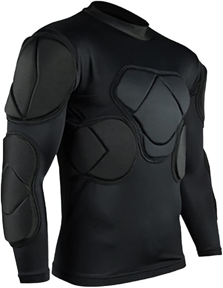 TOPWISE Body Safe Guard Padded Compression Shirts, Long Sleeve Shoulder Rib Chest Protector Suit for Football Basketball Paintball Rugby Parkour Extreme Exercise : Sports & Outdoors