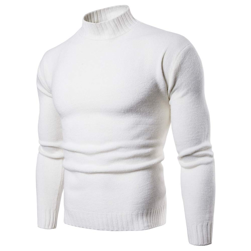 NiuZi Men Slim Fit Turtleneck Sweaters Pullover Black Knitted Sweater (White, US M)