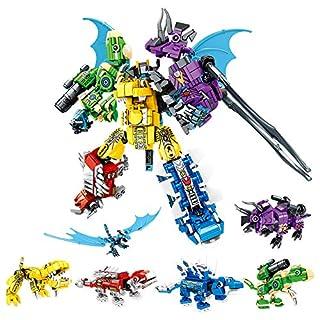 NEWRICE Dinosaur Robot Building Block Toys Set, 6 in 1 Kinds Dinosaur Mech Warrior, Technic Bricks DIY Toys for 6-12 Year Kids Boys Girls(649 Pieces)