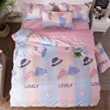 SHADEHAO Home Textile Flamingo Pink Love Bedding Set 3/4Pcs Duvet Quilt Cover Pillowcase Flat Bed Sheet Girl Kid Teens Bed Linen 6 King Flat Bed Sheet
