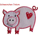 2 iron on patches Piggy 7x6 and Flower 7x11cm - embroidered fabric appliques set by TrickyBoo Design Zurich