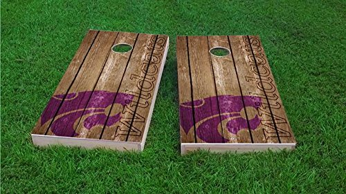 Tailgate Pro's Kansas State Wildcats Distressed Cornhole Boards, ACA Corn Hole Set, Comes with 2 Boards, 8 Corn Filled Bags & 1 Vinyl Carry Case