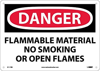 "NMC D117RB OSHA Sign, ""DANGER FLAMMABLE MATERIAL NO SMOKING OR OPEN FLAMES"", 14"" Width x 10"" Height, Rigid Plastic, Black/Red On White"