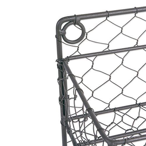 Home Traditions Z01920 Farmhouse Vintage Metal Chicken Wire Spice Rack Organizer for Kitchen Wall, Pantry Or Cabinet, Antique Finish, Large, 4 Tier Double Shelf Depth Spice Rack-Rustic