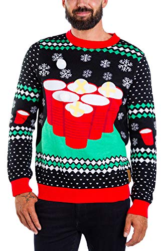 Men's Cheer Pong Game Sweater - Funny Beer Pong Christmas Sweater: XXL Black