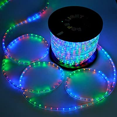 150ft Christmas Lighting LED Rope Light Multi-Color w/ Connector 1620 LED Bulbs Rope Light 150' Ft w/ Power Cords Connectors Holiday Strip Ribbon Decorative Lighting Outdoor Home Indoor 110v