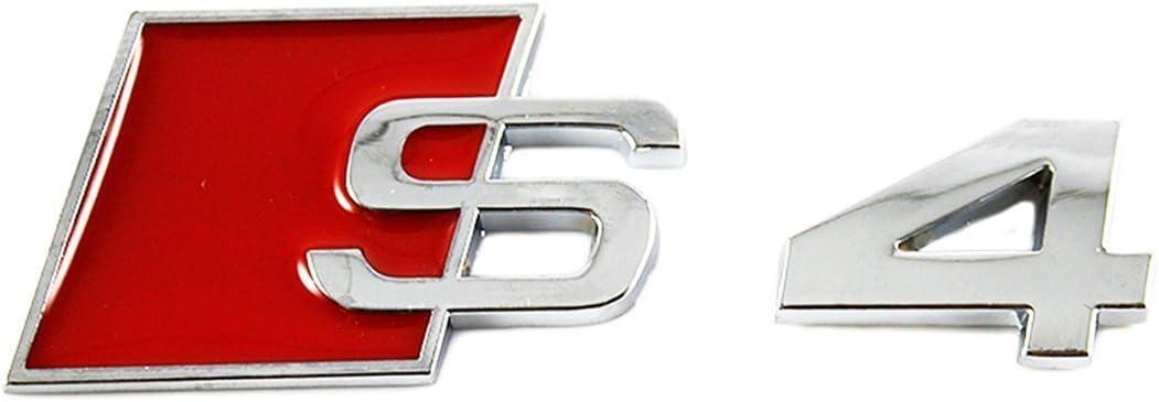 Insignia Cromada Audi Auto Adhesivo A3 A4 S3 S4 A5 A6 2x Supercargado Metal Rojo Emblema