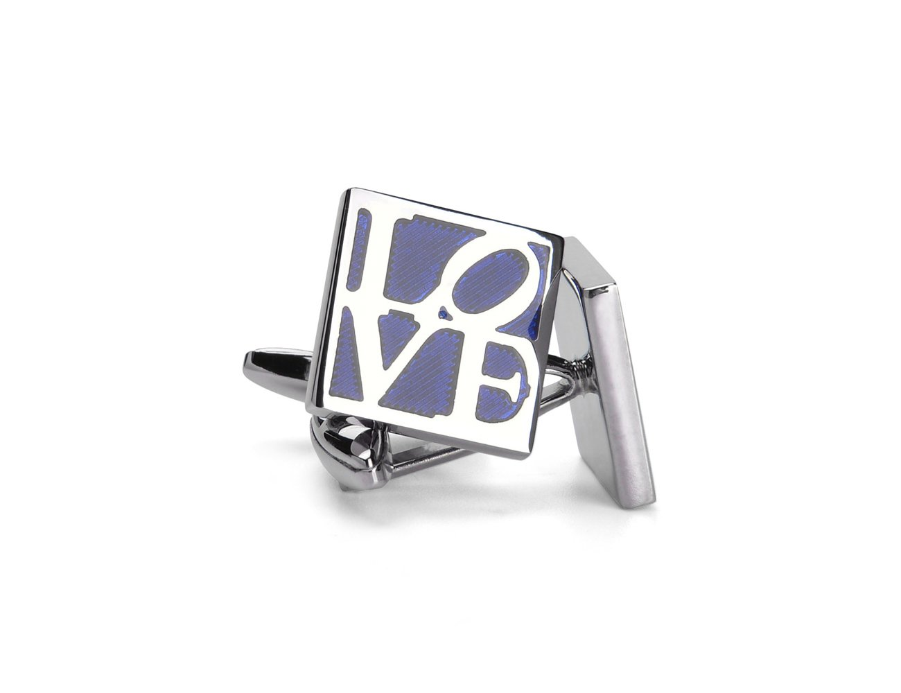 Welbijoux Cufflinks Unique Square Blue LOVE Engraved Cuff Luxury French Shirts Silver Cuff Link for Men
