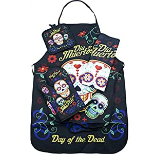 Day of the Dead Sugar Skull Kitchen Apron Set - Created for Baking, Grilling, Chefs, Cooks, For Home or Gift - 4 Pieces (1) Unisex Fits Most Apron (1) Kitchen / Tea Towel (1) Pot Holder (1) Oven Mitt