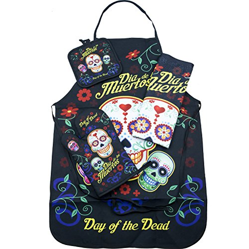 4 Apron Set Piece (Day of the Dead Sugar Skull Kitchen Apron Set - Created for Baking, Grilling, Chefs, Cooks, For Home or Gift - 4 Pieces (1) Unisex Fits Most Apron (1) Kitchen / Tea Towel (1) Pot Holder (1) Oven Mitt)