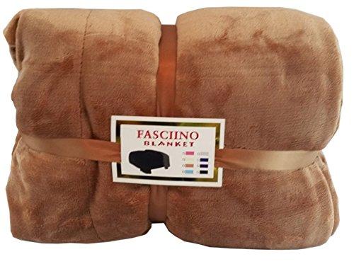 FASCIINO Super Soft Plush Velour Mink Borrego Blanket Throw Queen or Full Size Bed (Camel Brown)