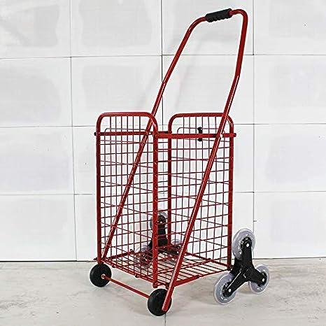 AZHOM Carrito de compras plegable portátil pequeño carrito que sube escaleras para comprar carritos de comida Carretilla de mano antigua carretilla trolley remolques de equipaje proceso de hierro rent