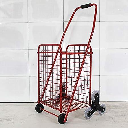 QX IAIZI Carro de la Compra Carro 8 Ruedas Escaleras Escalera Carro de Equipaje Hogar Tri-Rueda Plegable Carro de Empuje y tracción (Color : Red): Amazon.es: Hogar