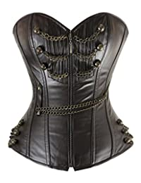 Charmian Women's Punk Faux Leather Steel Boned Rockabilly Corset with Chains