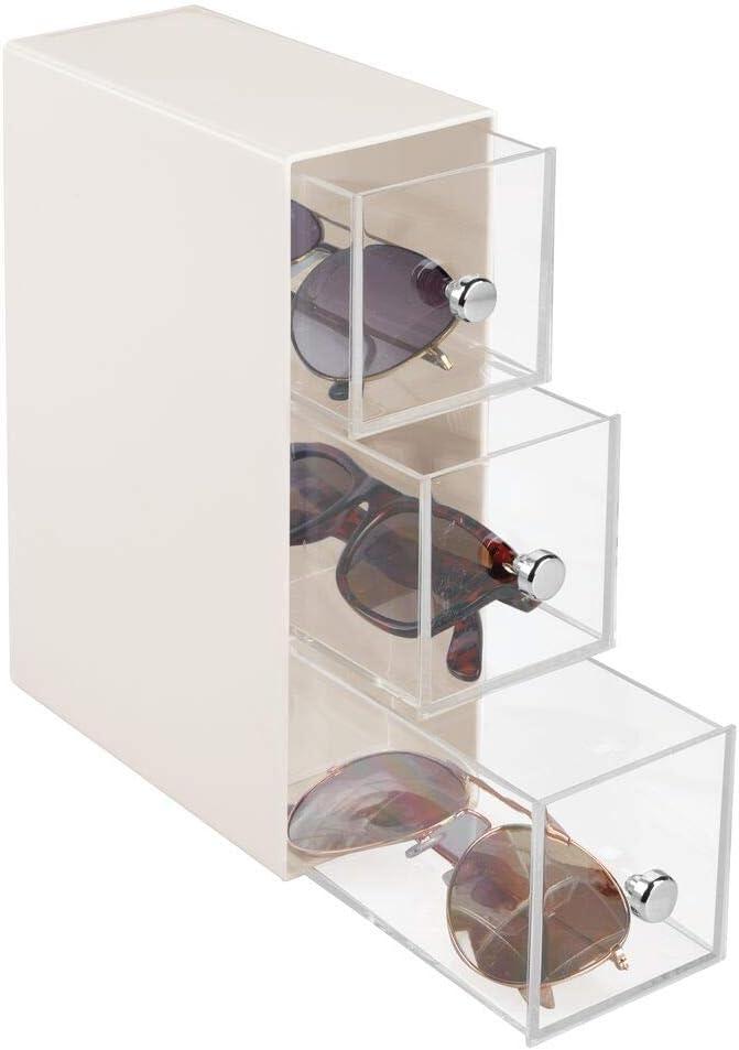 mDesign Cajonera de plástico – Organizador de Gafas con 3 cajones – Práctica cajonera para Gafas de Sol, de Leer u Otros Accesorios – Crema y Transparente