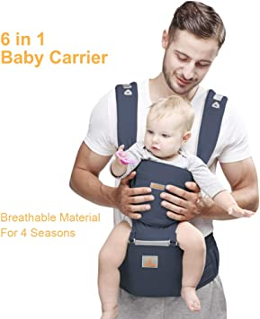 Baby One Size Fits All 6-in-1 Baby Carrier with Waist Stool- FRUITEAM Baby Carrier with Hip Seat for Breastfeeding Blue Adapt to Newborn Infant /& Toddler Carrier
