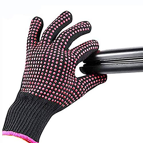 Lessmon 2 Pieces Elastic Cotton Silicone Glove for Hair Styling with Silicone Bump Point, Heat Resistant, Anti-Slipper for Flat Iron, Curling Wand and Hair Styling Tools