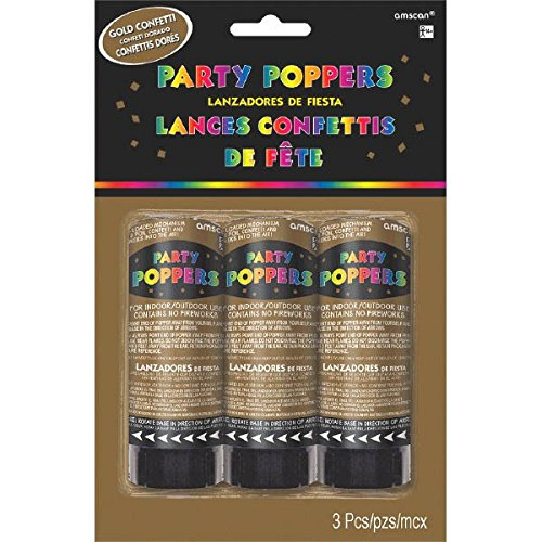 Amscan Party Fun Mini Confetti Party Poppers Noisemakers, Gold, Paper, 4'', Pack of 3